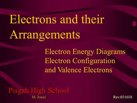 Rev.031610 Pisgah High School M. Jones Electron Energy Diagrams Electron Configuration and Valence Electrons Electrons and their Arrangements.