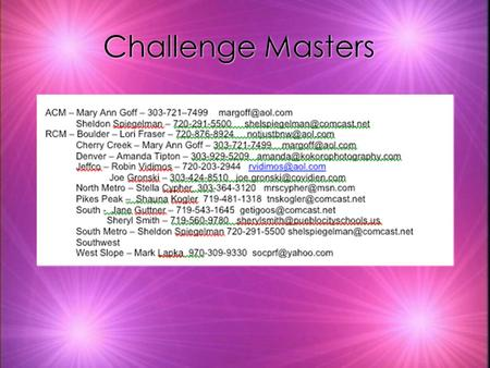 Challenge Masters. Improv Resources What's special about the Improv Challenge? k There is no written script. k It's different every time. k Teaches kids.