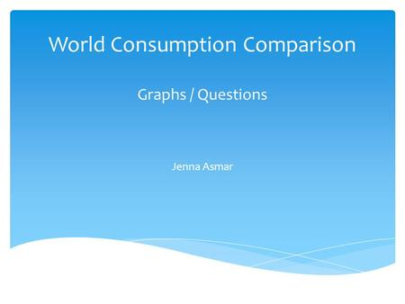 World Consumption Comparison Graphs / Questions Jenna Asmar.