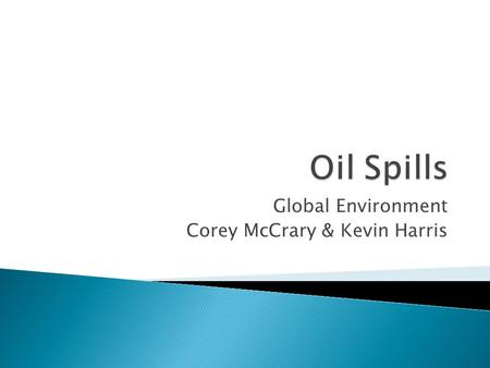 Global Environment Corey McCrary & Kevin Harris.  An oil spill is the release of a liquid petroleum hydrocarbon into the environment, especially marine.