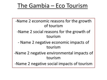 The Gambia – Eco Tourism