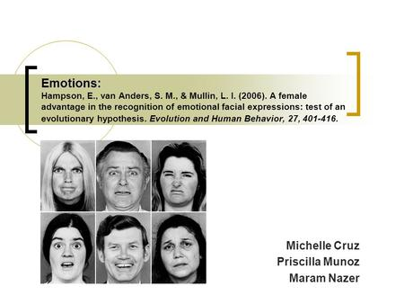 Emotions: Emotions: Hampson, E., van Anders, S. M., & Mullin, L. I. (2006). A female advantage in the recognition of emotional facial expressions: test.