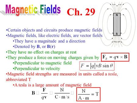 Certain objects and circuits produce magnetic fields Magnetic fields, like electric fields, are vector fields They have a magnitude and a direction Denoted.