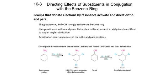 Directing Effects of Substituents in Conjugation with the Benzene Ring 16-3 Groups that donate electrons by resonance activate and direct ortho and para.