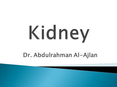 Dr. Abdulrahman Al-Ajlan.  The function unit in the kidney is the nephron. Each kidney contains approximately 1 million nephrons  The functions of the.