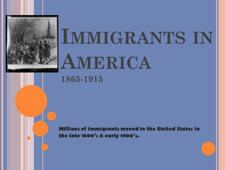 Immigrants in America 1865-1915 Millions of immigrants moved to the United States in the late 1800's & early 1900's.