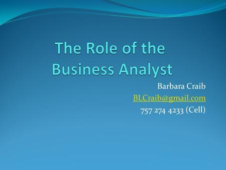 The Role of the Business Analyst