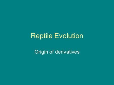 Reptile Evolution Origin of derivatives. Ancestral reptile = anapsid, small, legs out to sides.