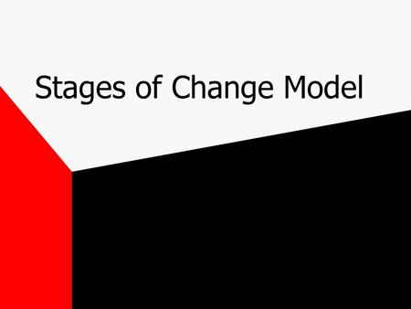 Stages of Change Model. Stage 1. Precontemplation Not considering behavioural change No intention of being more active within the next 6 months. Not aware.