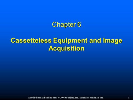 Chapter 6 Cassetteless Equipment and Image Acquisition