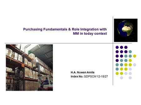 Purchasing Fundamentals & Role Integration with MM in today context H.A. Nuwan Amila Index No. GDPSCM 12-15/27.