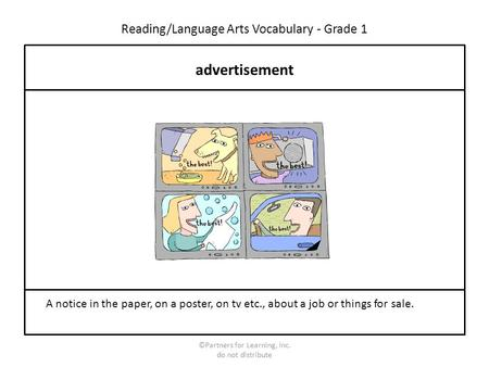 Reading/Language Arts Vocabulary - Grade 1