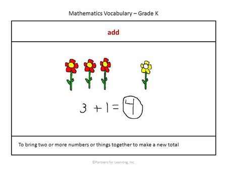 Mathematics Vocabulary – Grade K add ©Partners for Learning, Inc. To bring two or more numbers or things together to make a new total.
