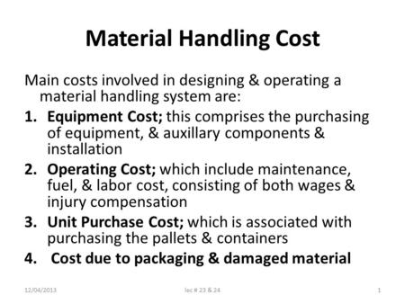 Material Handling Cost