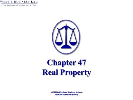 Chapter 47 Real Property. § 1: Nature of Real Property Real property is immovable and includes: Land. Buildings. Trees and vegetation. Airspace. Subsurface.