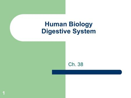1 Human Biology Digestive System Ch. 38. 2 True or False 1. Your mouth digests sugar only. 2. Your large intestine is involved in digestion of fat. 3.