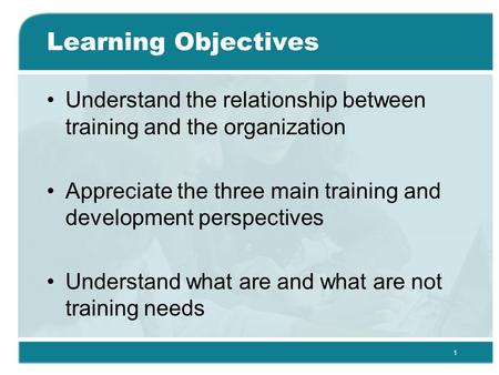 1 Learning Objectives Understand the relationship between training and the organization Appreciate the three main training and development perspectives.