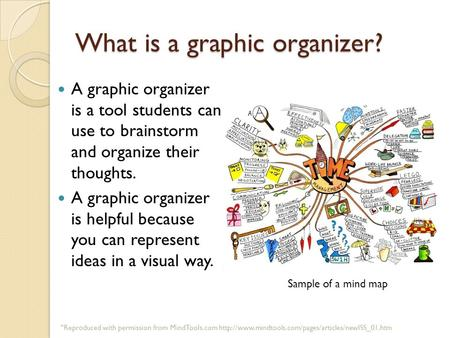 What is a graphic organizer? A graphic organizer is a tool students can use to brainstorm and organize their thoughts. A graphic organizer is helpful because.
