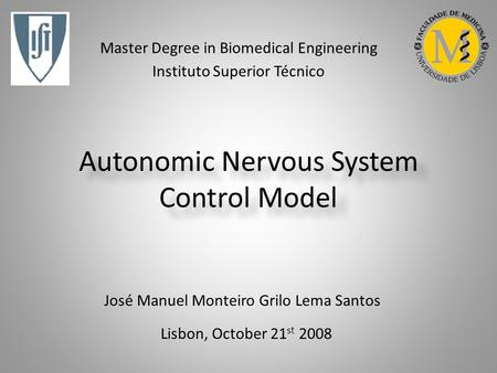 Autonomic Nervous System Control Model Lisbon, October 21 st 2008 José Manuel Monteiro Grilo Lema Santos Master Degree in Biomedical Engineering Instituto.