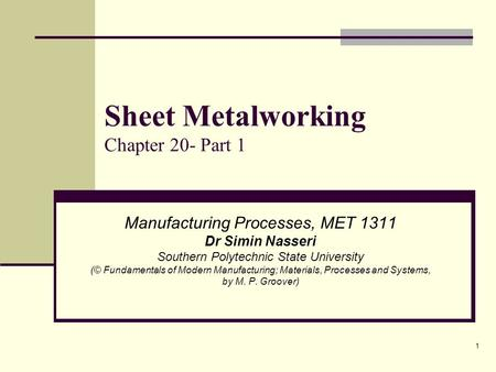 Sheet Metalworking Chapter 20- Part 1