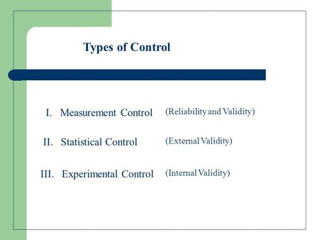 Types of Control I. Measurement Control III. Experimental Control II. Statistical Control (Reliability and Validity) (Internal Validity) (External Validity)