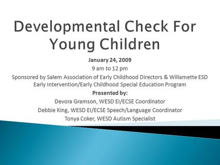 Developmental Check For Young Children