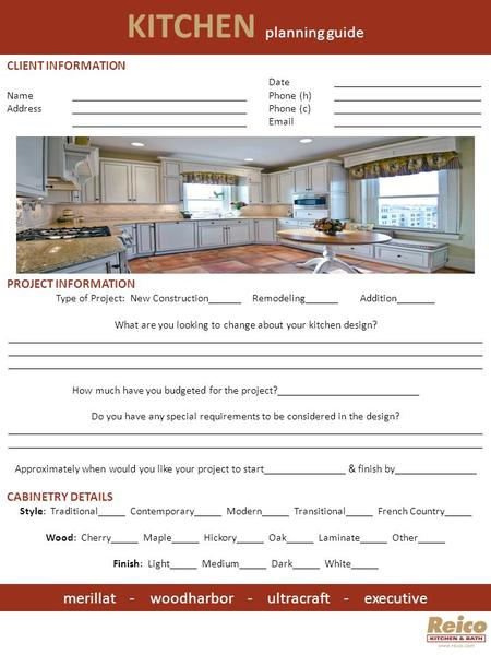 KITCHEN planning guide merillat - woodharbor - ultracraft - executive CLIENT INFORMATION Date___________________________ Name________________________________Phone.
