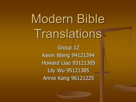 Modern Bible Translations