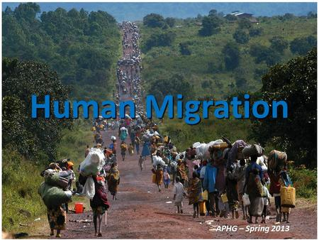 Human Migration APHG – Spring 2013. Migration  A type of mobility  Migration is a permanent move to a new location  Migration = relocation diffusion.