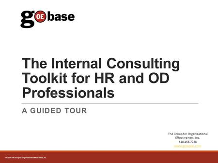 2014 The Group for Organizational Effectiveness, Inc. The Internal Consulting Toolkit for HR and OD Professionals A GUIDED TOUR The Group for Organizational.