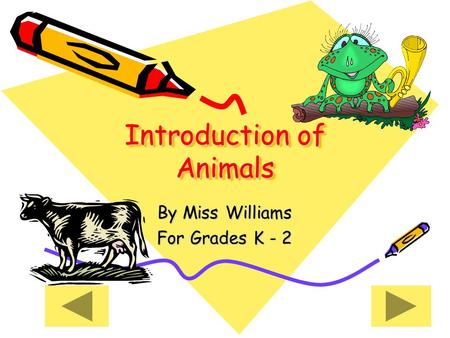 Introduction of Animals Introduction of Animals By Miss Williams For Grades K - 2.