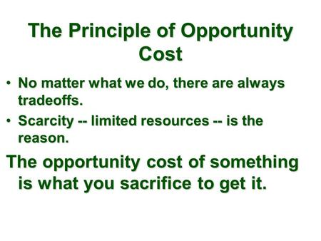 The Principle of Opportunity Cost