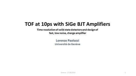 TOF at 10ps with SiGe BJT Amplifiers