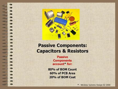 Passive Components: Capacitors & Resistors Passive Components account* for: 80% of BOM Count 60% of PCB Area 20% of BOM Cost * - Wireless Systems Design.