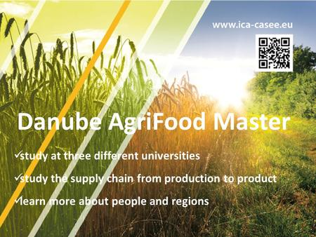 Study at three different universities study the supply chain from production to product learn more about people and regions Danube AgriFood Master.