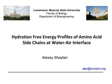 Hydration Free Energy Profiles of Amino Acid Side Chains at Water-Air Interface Lomonosov Moscow State University Faculty of Biology Department of Bioengineering.