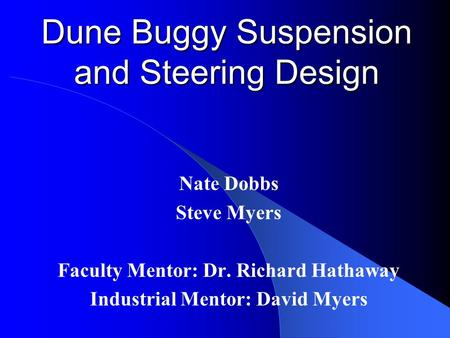 Dune Buggy Suspension and Steering Design