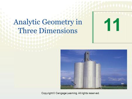 11 Analytic Geometry in Three Dimensions