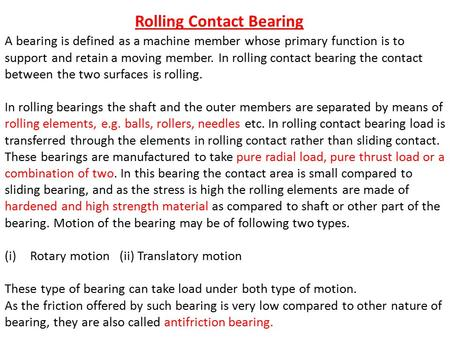 Rolling Contact Bearing