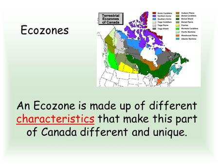 An Ecozone is made up of different characteristics that make this part of Canada different and unique. Ecozones.