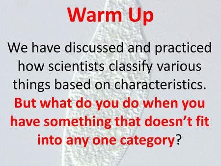 Warm Up We have discussed and practiced how scientists classify various things based on characteristics. But what do you do when you have something that.