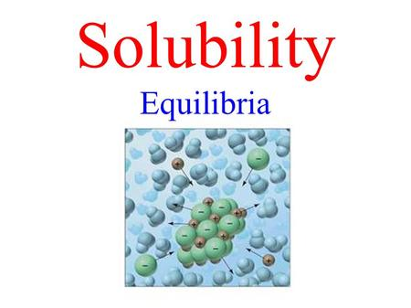 Solubility Equilibria. Write solubility product (K sp ) expressions from balanced chemical equations for salts with low solubility. Solve problems involving.