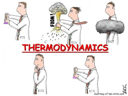 THERMODYNAMICS Courtesy of lab-initio.com. Definitions #1 Energy: The capacity to do work or produce heat Potential Energy: Energy due to position or.