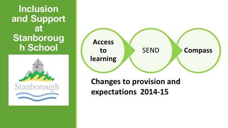 Inclusion and Support at Stanboroug h School Changes to provision and expectations 2014-15 CompassSEND Access to learning.