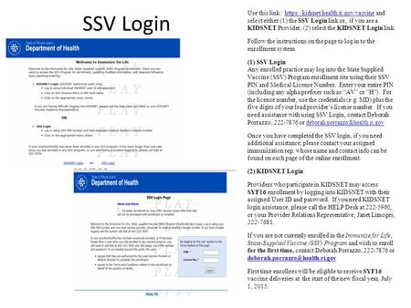 SSV Login Removed Gail's name/number as provider relations rep