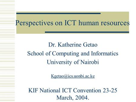 Perspectives on ICT human resources