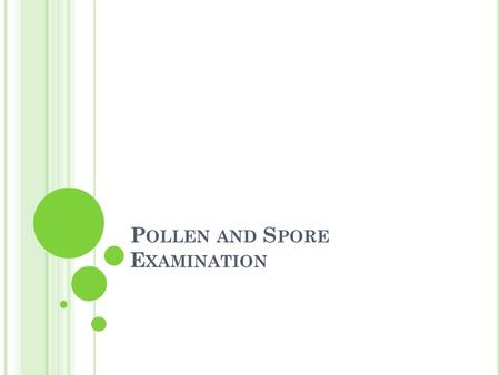 P OLLEN AND S PORE E XAMINATION. I NTRODUCTION Pollen and spore information can be used to determine the following: Was the body moved? Where did the.