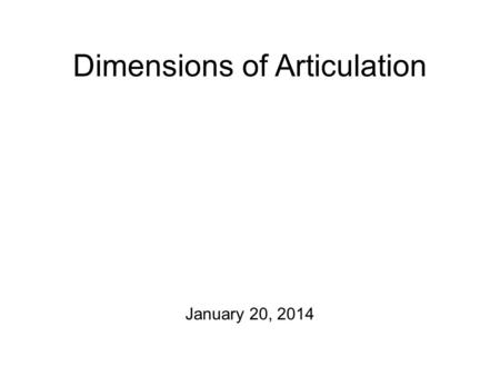 Dimensions of Articulation January 20, 2014 This Week Have a go at: Chapter 1, Exercise D Chapter 1, Exercise E Chapter 1, Exercise F Note: this is a.