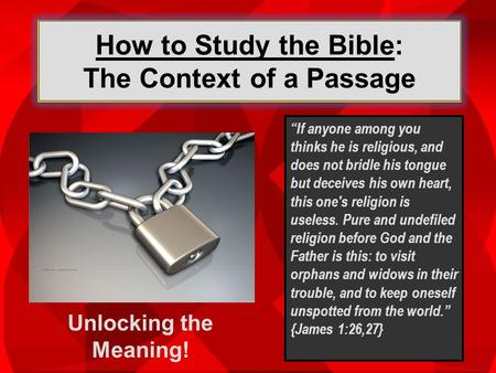 How to Study the Bible: The Context of a Passage