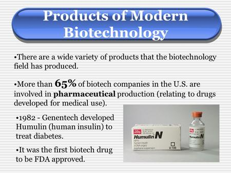 Products of Modern Biotechnology